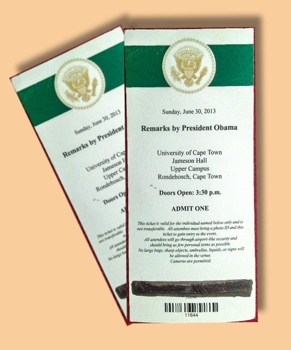 ticket invitation for president obamas speech in university of cape town