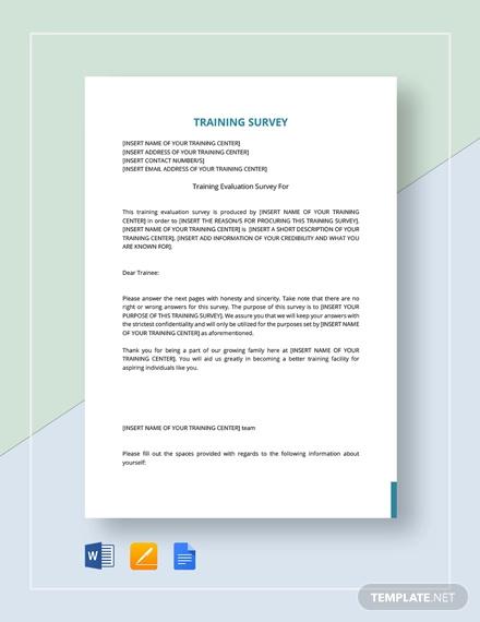 training survey template