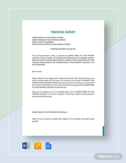 training survey template1