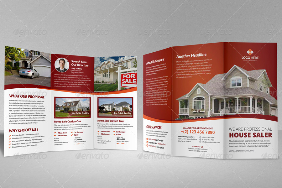 tri fold real estate sales brochure template