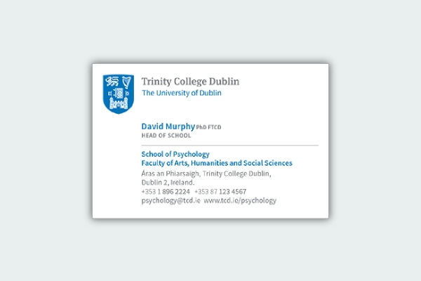 trinity college business card