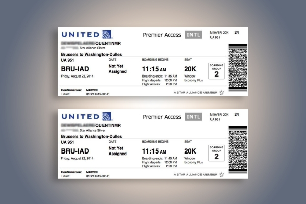 united airlines boarding pass ticket