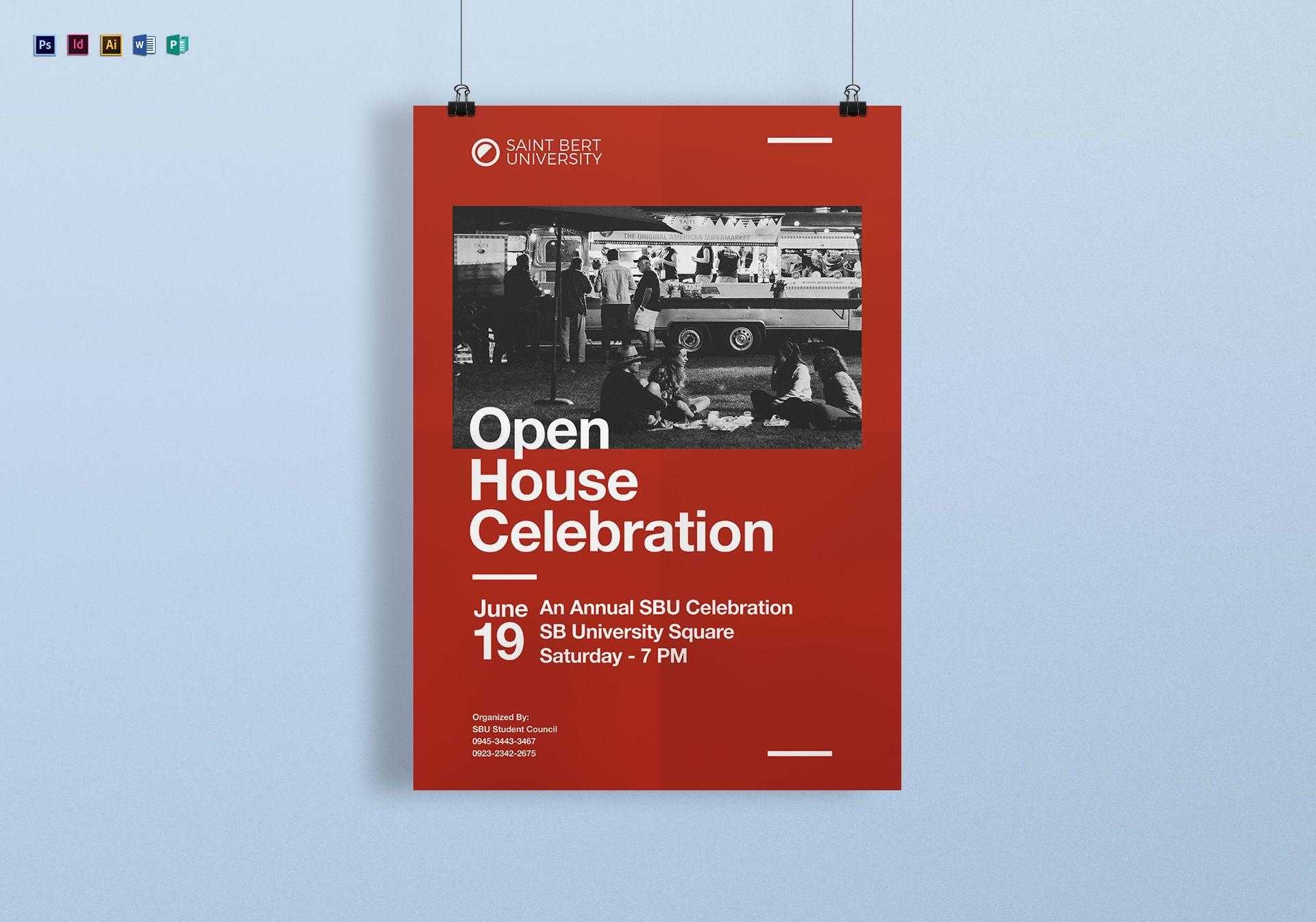 university open house celebration poster