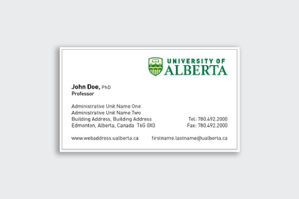 university of alberta business card