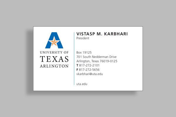 university of texas arlington business card
