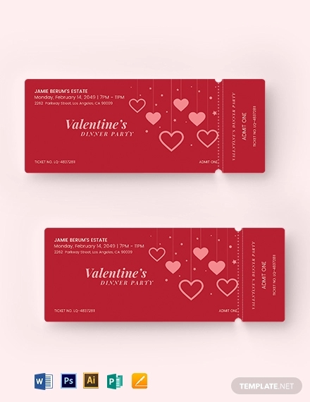 valentines party event ticket
