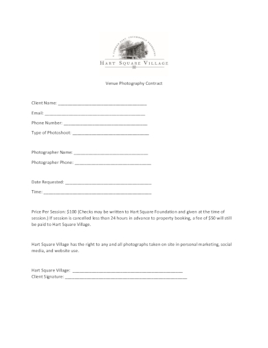 venue photography contract