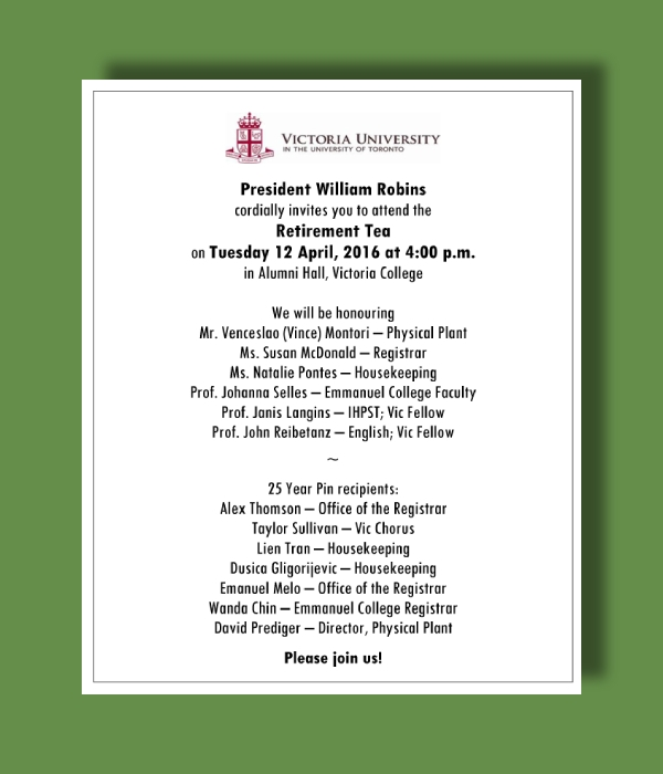 victoria university retirement tea invitation