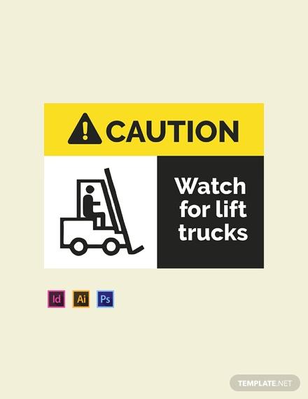 warehouse caution sign