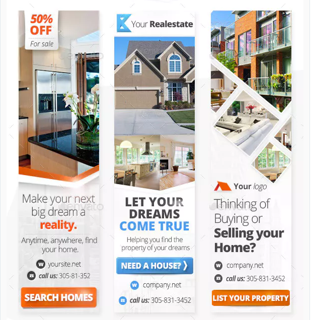 web banner real estate ads template