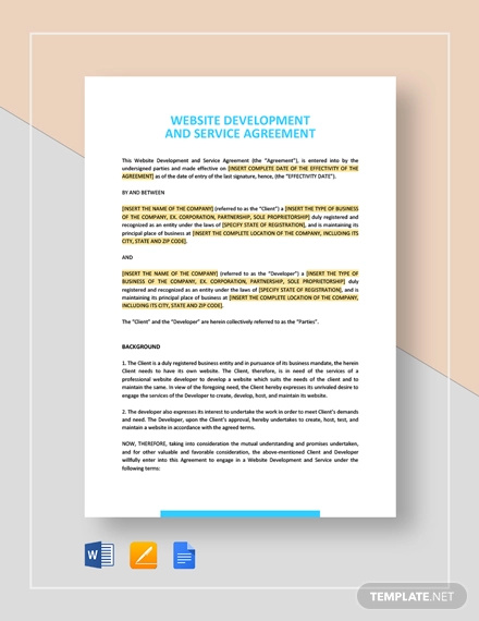 website development and service agreement template1