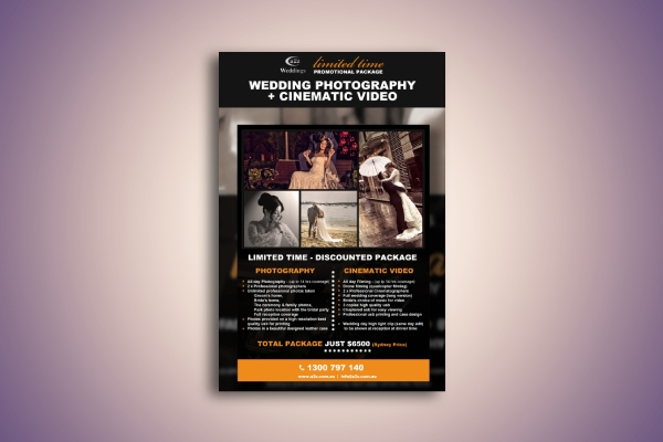 wedding photography and cinematic video flyer