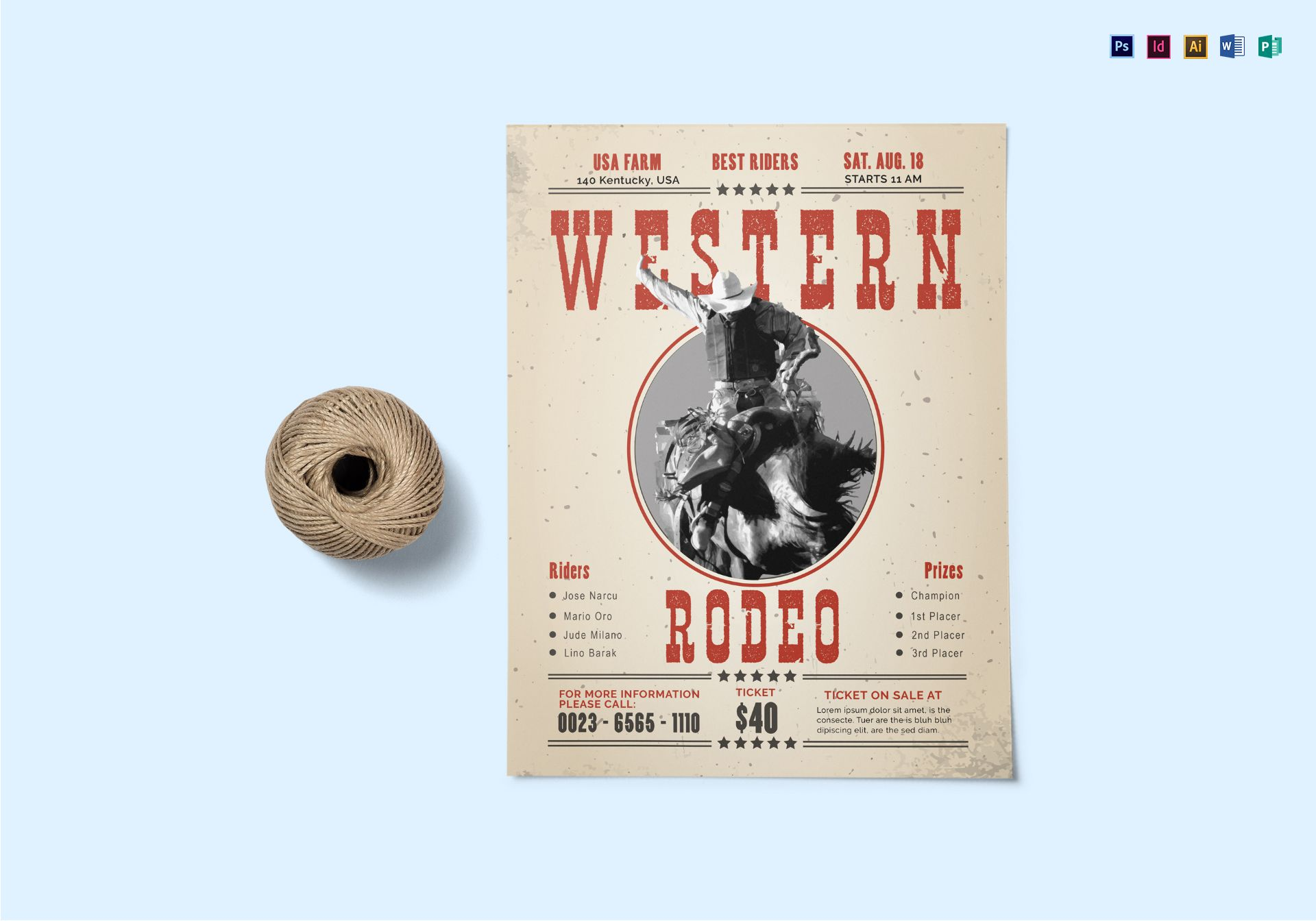 western rodeo flyer template
