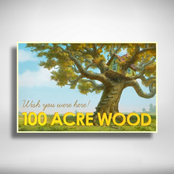 winnie the pooh's hundred acre wood postcard