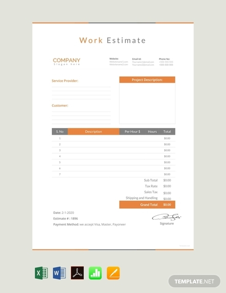 work estimate sheet