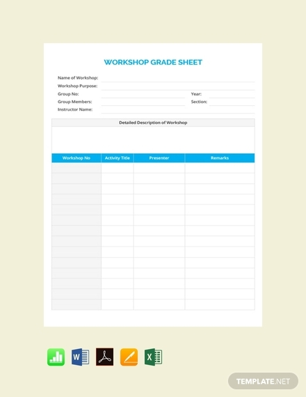 workshop grade sheet