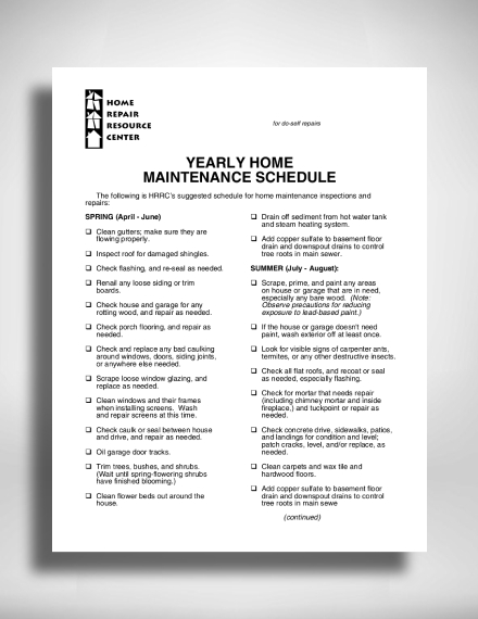 yearly home maintenance schedule