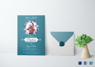 blue christening baptism invitation