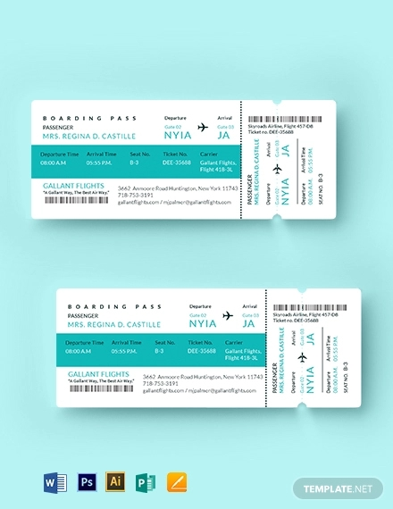 elegant airline ticket