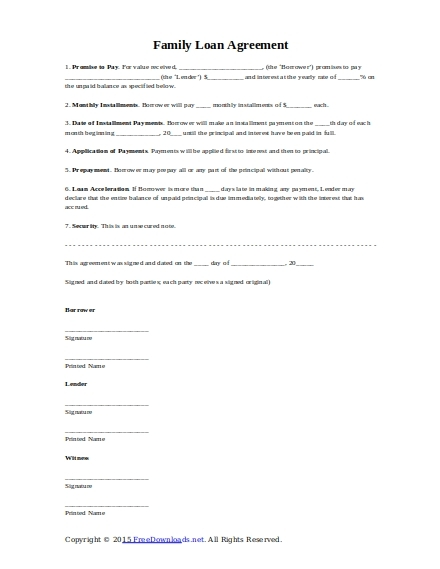 10 Best Family Loan Agreement Examples Templates