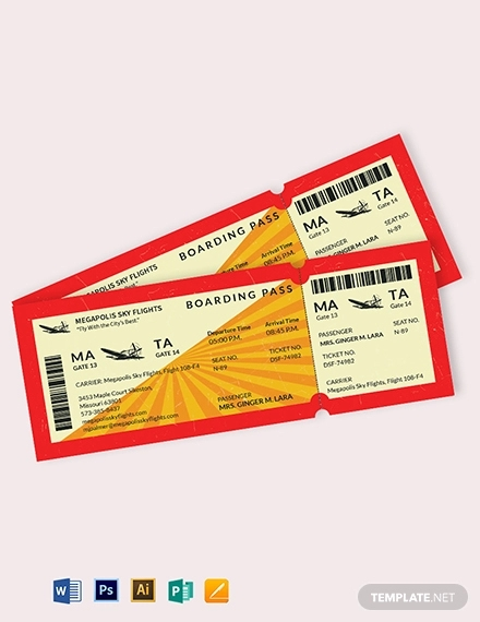 retro boarding pass airline ticket