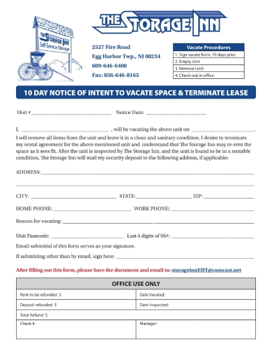 10 day notice to vacate space and terminate lease