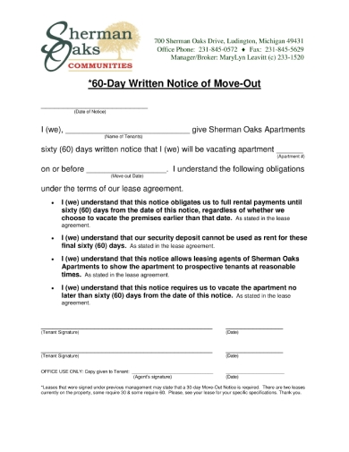 60 day written notice of move out