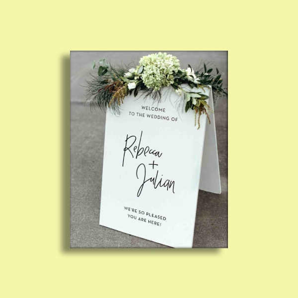 a frame wedding sign