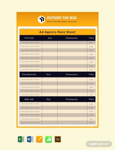 ad agency rate sheet