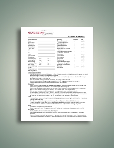 advancement events catering worksheet