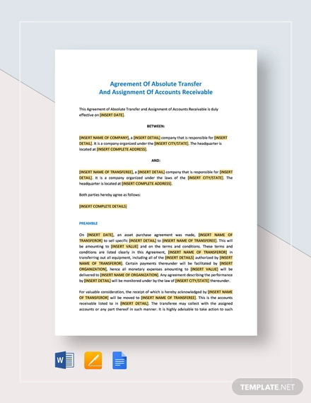 agreement of absolute transfer and assignment of accounts receivable template