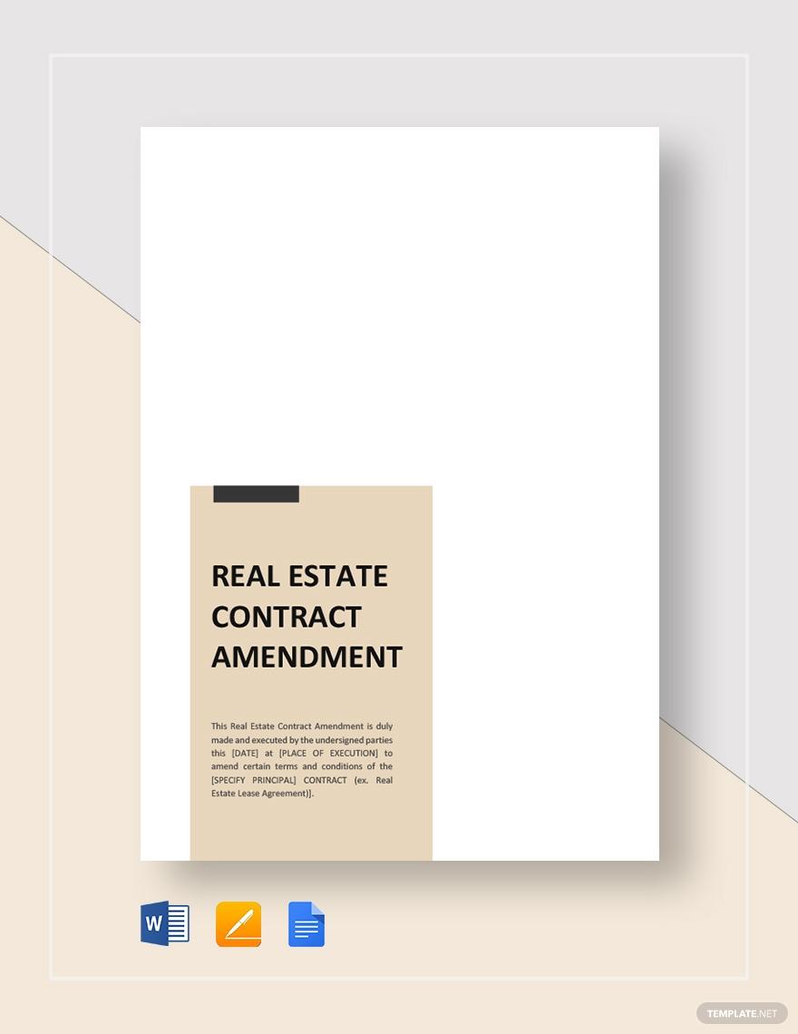 amendment real estate contract template