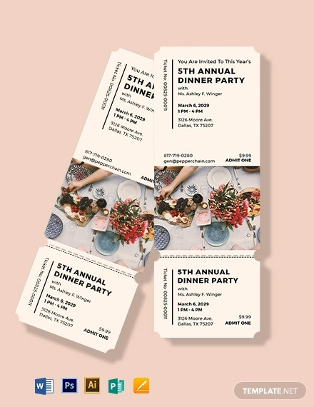 annual dinner party ticket template