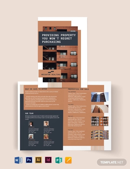 apartment condo bi fold brochure template