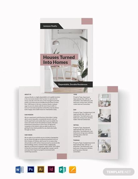 apartment condo community bi fold brochure template