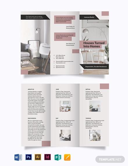 apartment condo community tri fold brochure template