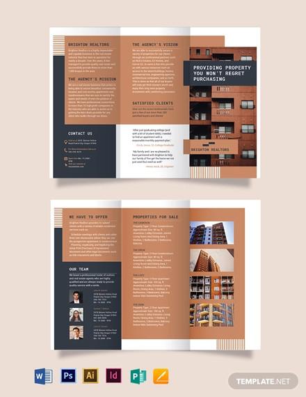 apartment condo tri fold brochure template
