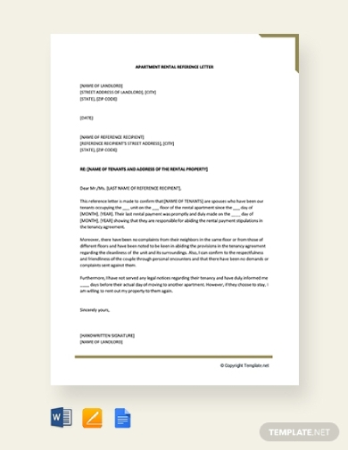 apartment rental reference letter for tenant