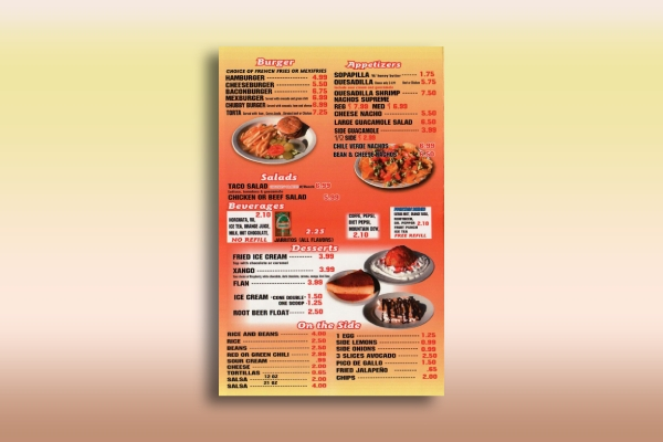 appealing mexican menu