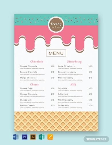 artsy ice cream menu