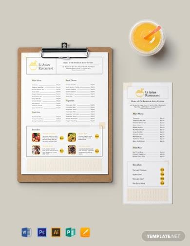 asian restaurant food menu