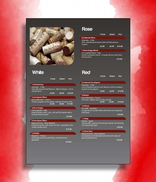 assorted wine menu
