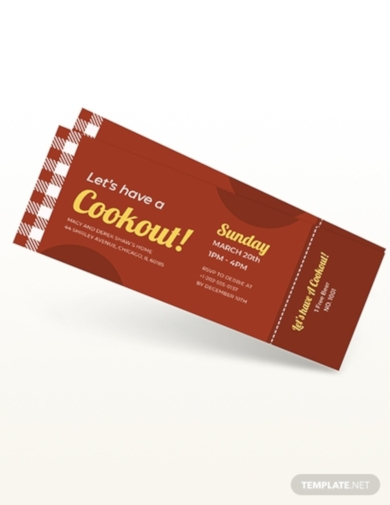 bbq party cookout ticket
