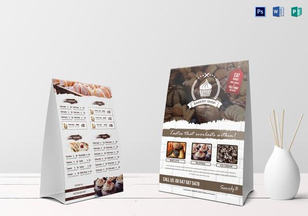 bakery menu table tent