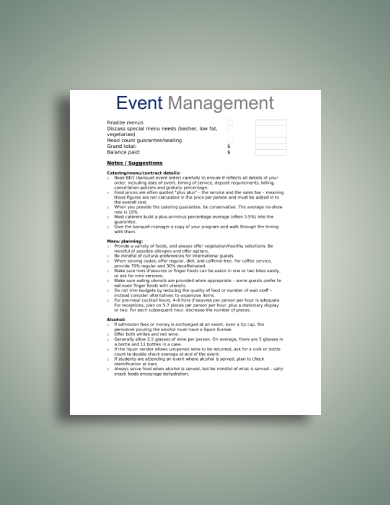 banquet catering worksheet