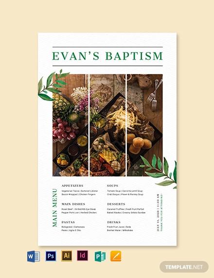 baptism poster menu template