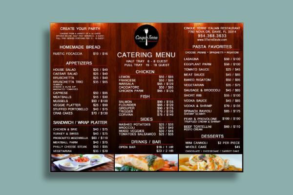 basic catering menu