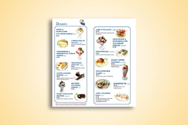 basic dessert menu