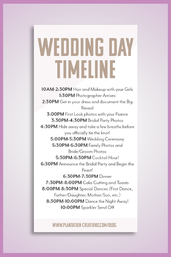 basic wedding timeline
