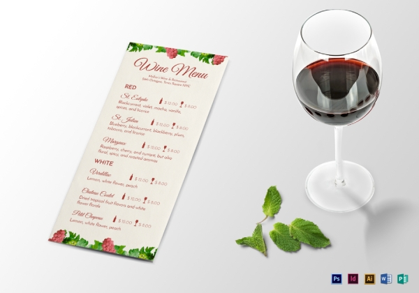 basic wine drink menu